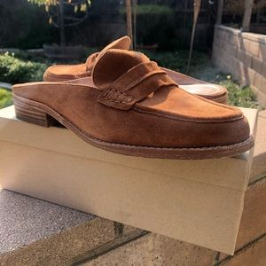 Suede Loafer Mule in Bison